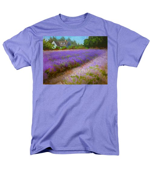 Impressionistic Lavender Field Landscape Plein Air Painting Men's T-Shirt  (Regular Fit) by Karen Whitworth