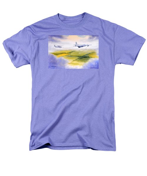 Men's T-Shirt  (Regular Fit) featuring the painting Kc-130 Tanker Aircraft Refueling Pave Hawk by Bill Holkham