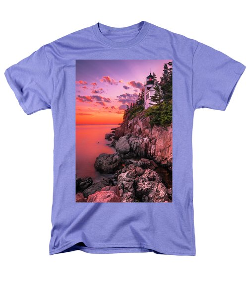 Men's T-Shirt  (Regular Fit) featuring the photograph Maine Bass Harbor Lighthouse Sunset by Ranjay Mitra
