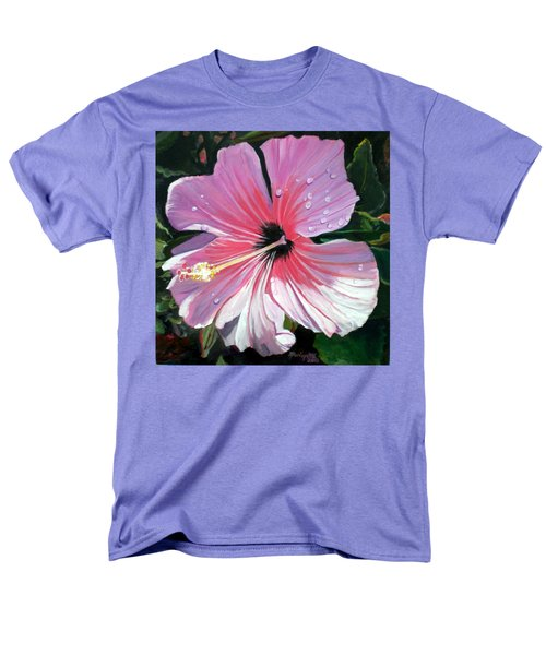 Pink Hibiscus With Raindrops Men's T-Shirt  (Regular Fit) by Marionette Taboniar