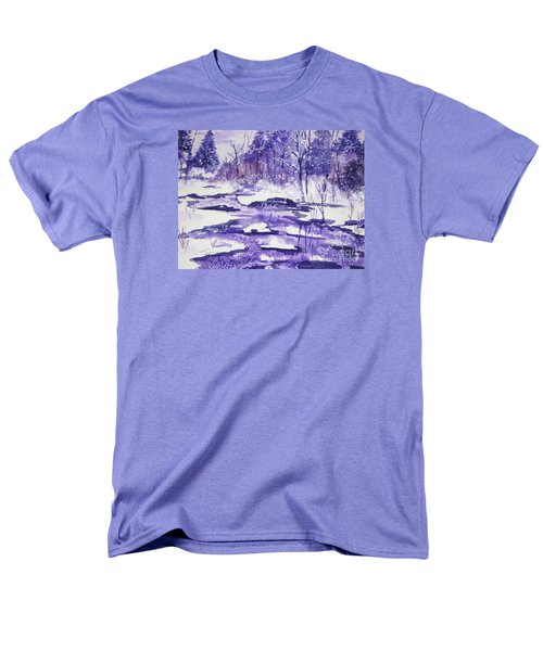 Men's T-Shirt  (Regular Fit) featuring the painting Purple Ice On Kaaterskill Creek by Ellen Levinson