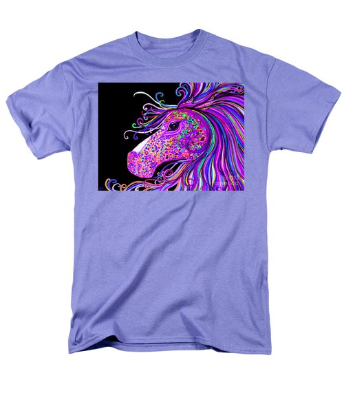 Rainbow Spotted Horse Head 2 Men's T-Shirt  (Regular Fit) by Nick Gustafson