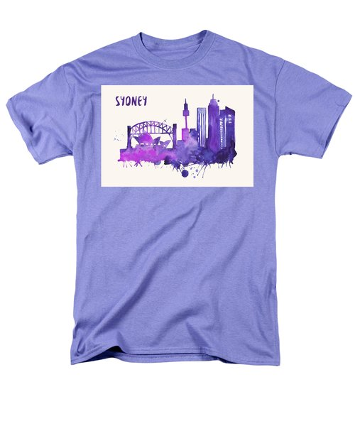 Sydney Skyline Watercolor Poster - Cityscape Painting Artwork Men's T-Shirt  (Regular Fit)