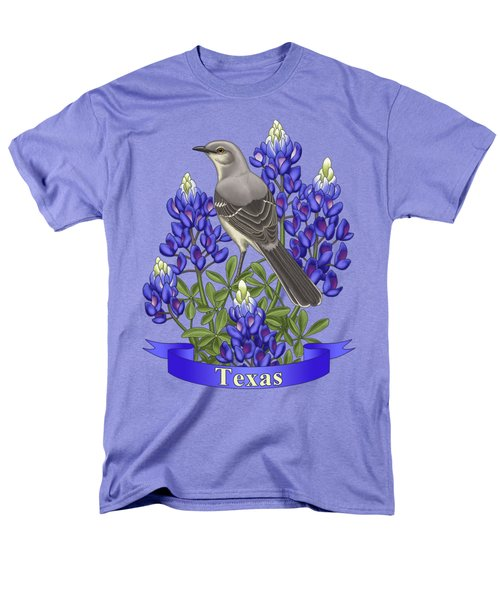 Texas State Mockingbird And Bluebonnet Flower Men's T-Shirt  (Regular Fit) by Crista Forest