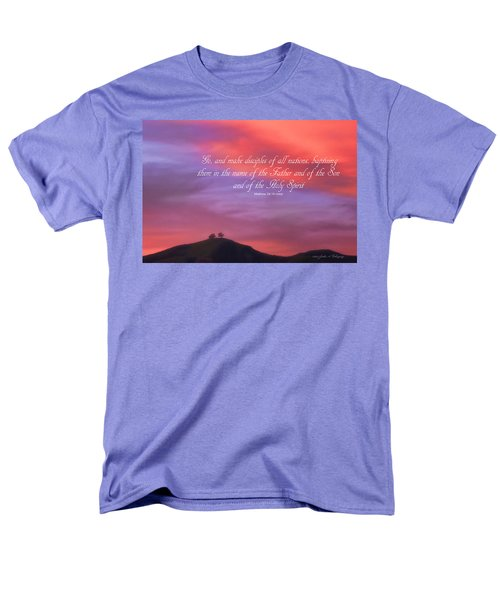 Men's T-Shirt  (Regular Fit) featuring the photograph Ventura Ca Two Trees At Sunset With Bible Verse by John A Rodriguez