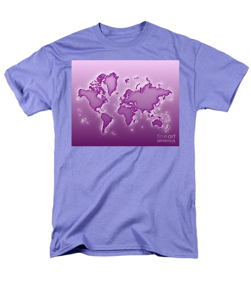 World Map Opala In Purple And White Men's T-Shirt  (Regular Fit) by Eleven Corners