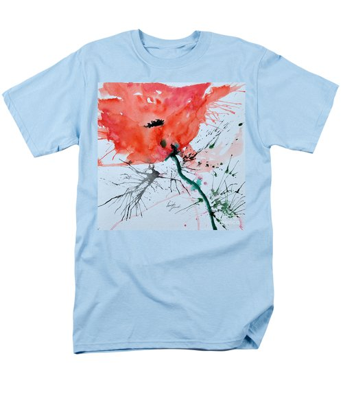 Men's T-Shirt  (Regular Fit) featuring the painting  Lonely Poppy by Ismeta Gruenwald