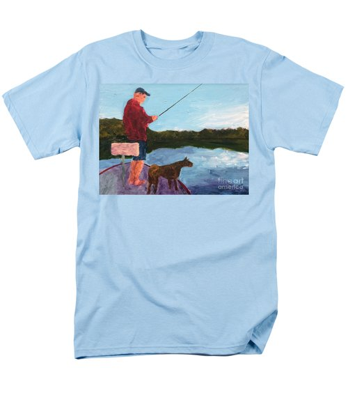 Men's T-Shirt  (Regular Fit) featuring the painting Fishing by Donald J Ryker III