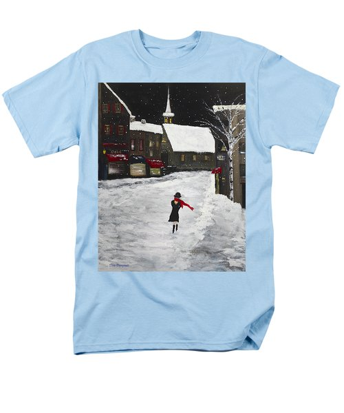 Red Scarf Winter Scene Men's T-Shirt  (Regular Fit) by Dick Bourgault