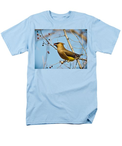 Cedar Waxwing With Berry Men's T-Shirt  (Regular Fit) by Robert Frederick