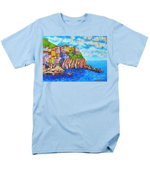 Manarola Cinque Terre Italy  Men's T-Shirt  (Regular Fit) by Ana Maria Edulescu