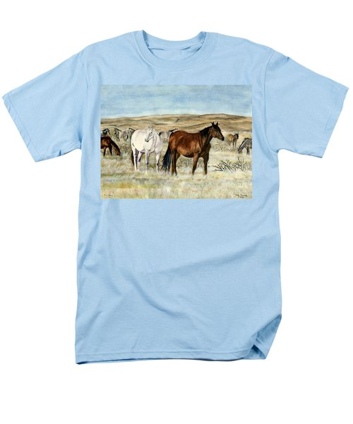 Men's T-Shirt  (Regular Fit) featuring the painting Nine Horses by Melly Terpening