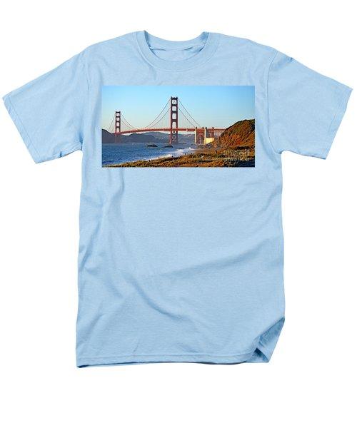 A View Of The Golden Gate Bridge From Baker's Beach  Men's T-Shirt  (Regular Fit) by Jim Fitzpatrick