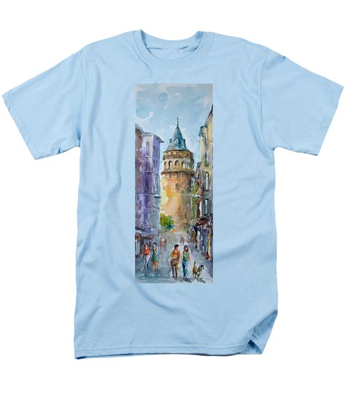 Men's T-Shirt  (Regular Fit) featuring the painting A Walk Around Galata Tower - Istanbul by Faruk Koksal