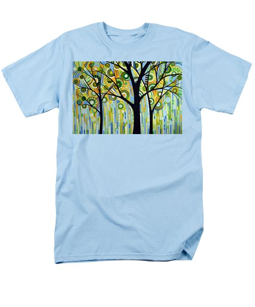 Men's T-Shirt  (Regular Fit) featuring the painting Abstract Modern Tree Landscape Spring Rain By Amy Giacomelli by Amy Giacomelli