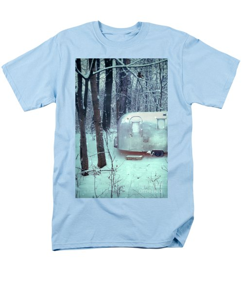 Airstream Trailer In Snowy Woods Men's T-Shirt  (Regular Fit) by Jill Battaglia