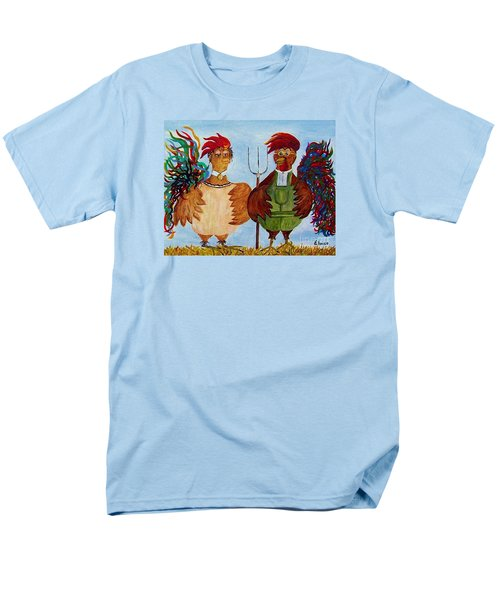 Men's T-Shirt  (Regular Fit) featuring the painting American Gothic Down On The Farm - A Parody by Eloise Schneider