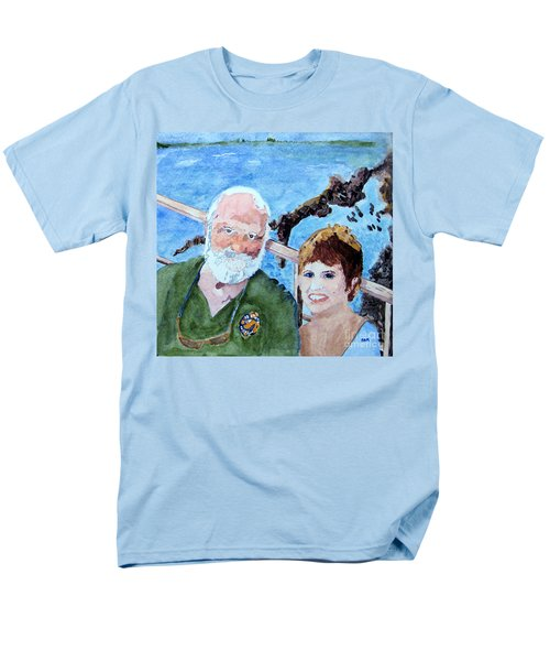 Men's T-Shirt  (Regular Fit) featuring the painting At The Dock Of The Bay by Sandy McIntire