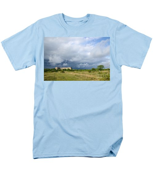 Men's T-Shirt  (Regular Fit) featuring the photograph Bad Weather Is Coming Up At  A Medieval Castle Ruin by Kennerth and Birgitta Kullman