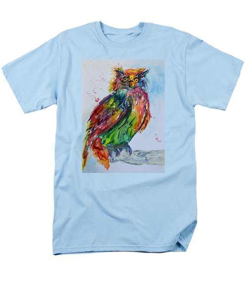 Men's T-Shirt  (Regular Fit) featuring the painting Baffled Owl by Beverley Harper Tinsley