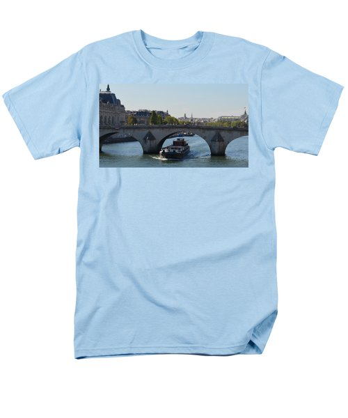 Barge On River Seine Men's T-Shirt  (Regular Fit) by Cheryl Miller