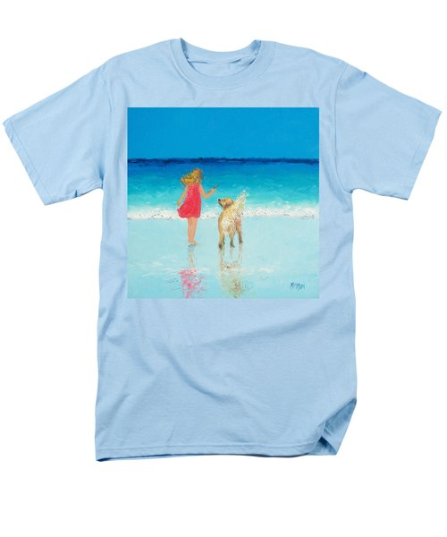 Beach Painting 'sunkissed Hair'  Men's T-Shirt  (Regular Fit) by Jan Matson