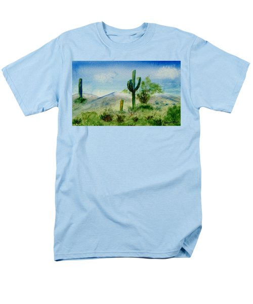 Men's T-Shirt  (Regular Fit) featuring the painting Blue Cactus by Jamie Frier