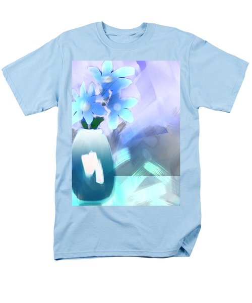 Men's T-Shirt  (Regular Fit) featuring the digital art Blue Vase Of Flowers by Frank Bright