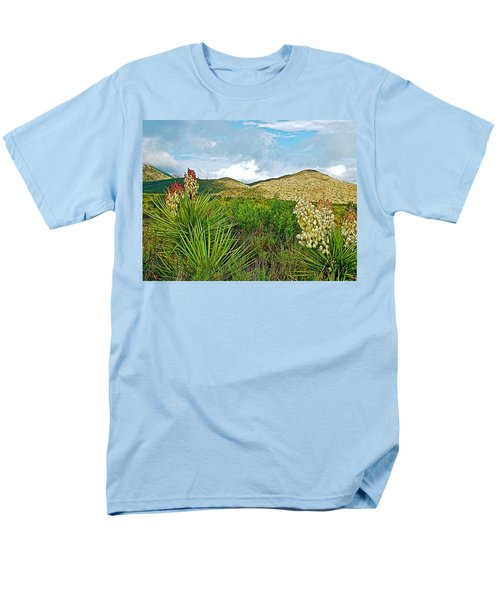 Blue Yucca And Chisos Mountains In Big Bend National Park-texas Men's T-Shirt  (Regular Fit) by Ruth Hager