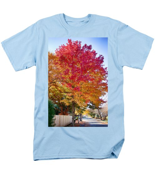 brilliant autumn colors on a Marblehead street Men's T-Shirt  (Regular Fit) by Jeff Folger