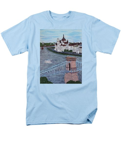 Men's T-Shirt  (Regular Fit) featuring the painting Budapest Bridge by Jasna Gopic