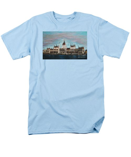 Men's T-Shirt  (Regular Fit) featuring the painting Budapest Parliament By Jasna Gopic by Jasna Gopic