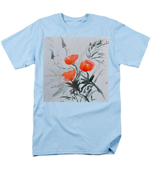 California Poppies Sumi-e Men's T-Shirt  (Regular Fit) by Beverley Harper Tinsley