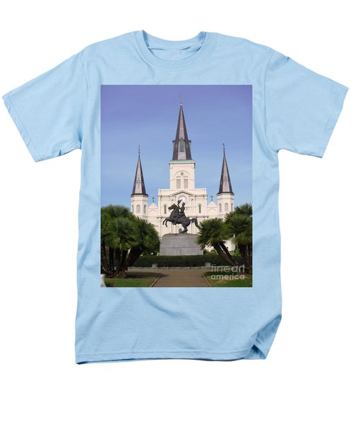 Men's T-Shirt  (Regular Fit) featuring the photograph Cathedral In Jackson Square by Alys Caviness-Gober