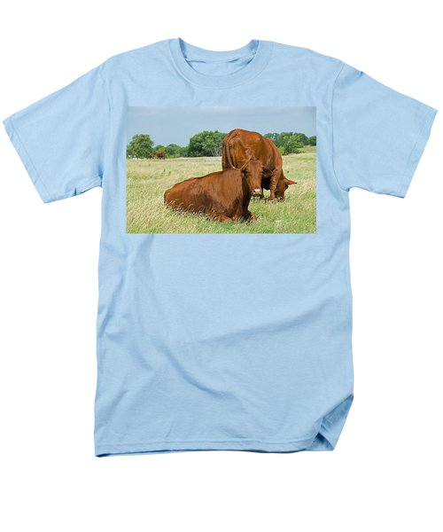Men's T-Shirt  (Regular Fit) featuring the photograph Cattle Grazing In Field by Charles Beeler