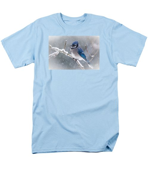 Christmas Card Bluejay Men's T-Shirt  (Regular Fit) by Cheryl Baxter