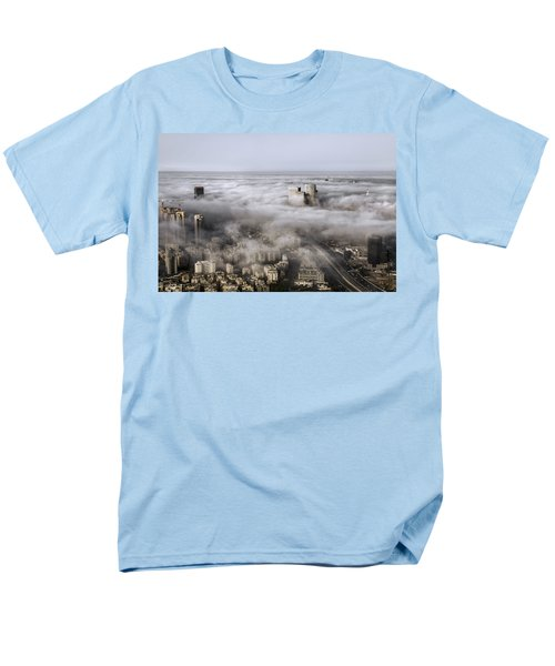 Men's T-Shirt  (Regular Fit) featuring the photograph City Skyscrapers Above The Clouds by Ron Shoshani