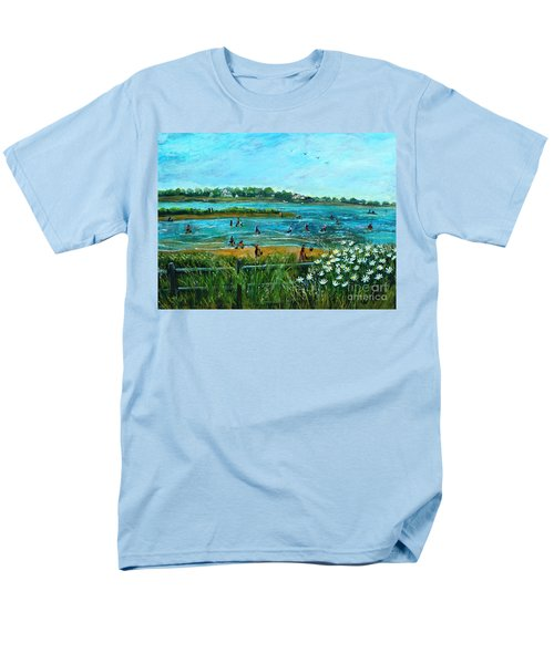 Men's T-Shirt  (Regular Fit) featuring the painting Clam Diggers At Menauhant Beach by Rita Brown