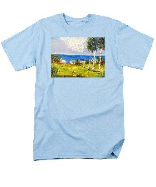 Men's T-Shirt  (Regular Fit) featuring the painting Coastal Fishing Village by Pamela  Meredith