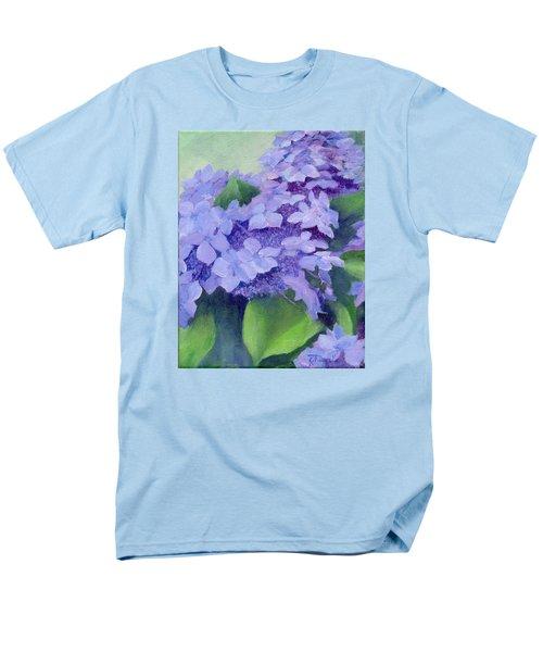 Colorful Hydrangeas Original Purple Floral Art Painting Garden Flower Floral Artist K. Joann Russell Men's T-Shirt  (Regular Fit) by Elizabeth Sawyer