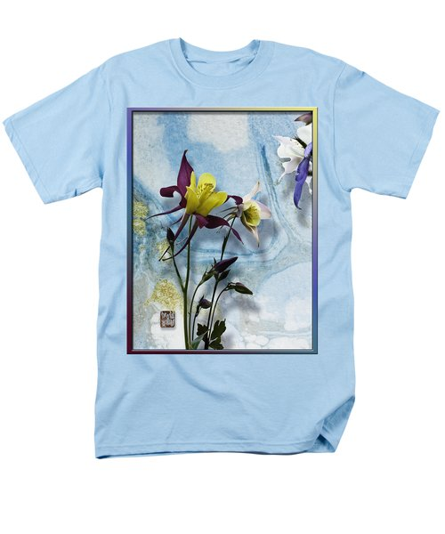 Columbine Blossom With Suminagashi Ink Men's T-Shirt  (Regular Fit) by Peter v Quenter