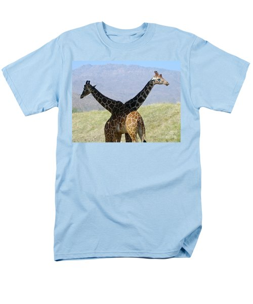 Crossed Giraffes Men's T-Shirt  (Regular Fit) by Phyllis Kaltenbach
