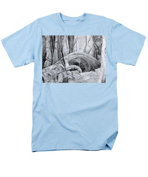 Men's T-Shirt  (Regular Fit) featuring the drawing Das Monster Hat Sich Im Ungebuegelten Hintergrund Versteckt by Otto Rapp