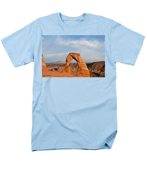Men's T-Shirt  (Regular Fit) featuring the photograph Delicate Arch At Sunset by Jeff Goulden