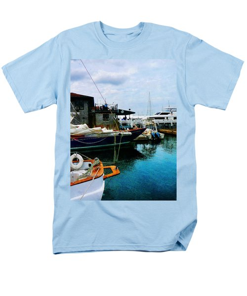 Men's T-Shirt  (Regular Fit) featuring the photograph Docked Boats In Newport Ri by Susan Savad