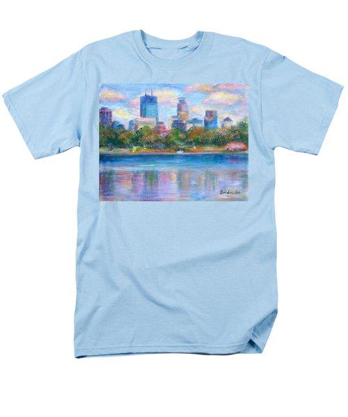 Downtown Minneapolis Skyline From Lake Calhoun Men's T-Shirt  (Regular Fit) by Quin Sweetman