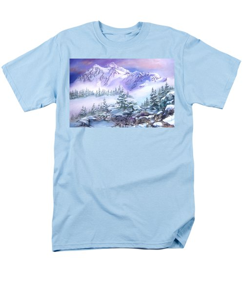 Men's T-Shirt  (Regular Fit) featuring the painting Dressed In White Mount Shuksan by Sherry Shipley