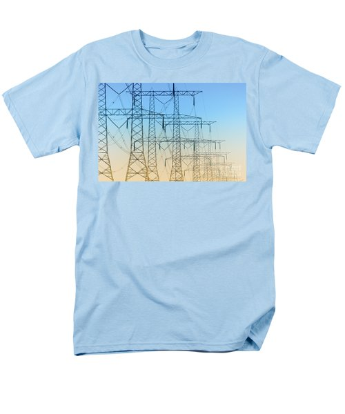 Electricity Pylons Standing In A Row Men's T-Shirt  (Regular Fit) by Nick  Biemans