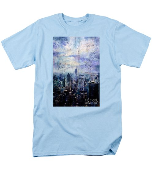 Empire State Building In Blue Men's T-Shirt  (Regular Fit)