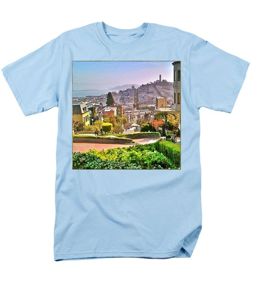 Favorite Places Lombard Street San Francisco California Men's T-Shirt  (Regular Fit) by Anna Porter